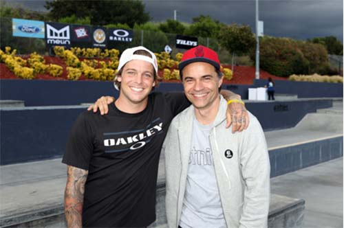 Ryan Sheckler with etnies' Owner and CEO, Pierre Andre Senizergues.
