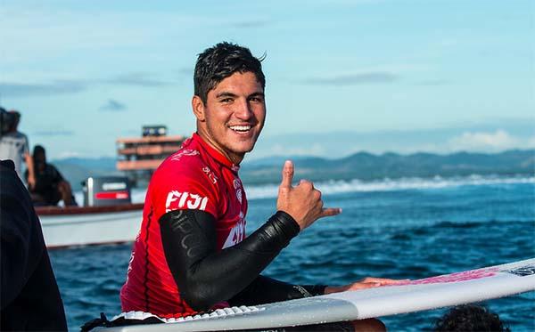 Gabriel Medina throws a shaka after winning 2016 Fiji Pro.