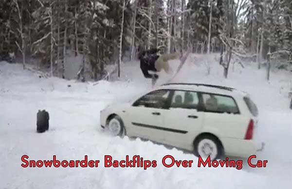 Snowboarder Car Backflip